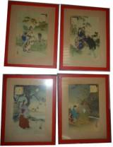 Serie 4 stampe Cinesi anni 50