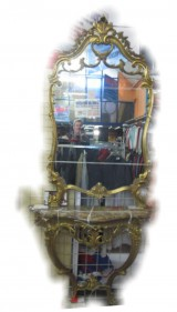 Consolle con specchio Legno Dorato